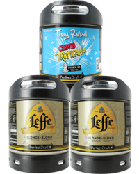 Kegs - Assortiment 3 fûts 6L : 2 Leffe Blonde - 1 Tiny Rebel Clwb Tropicana