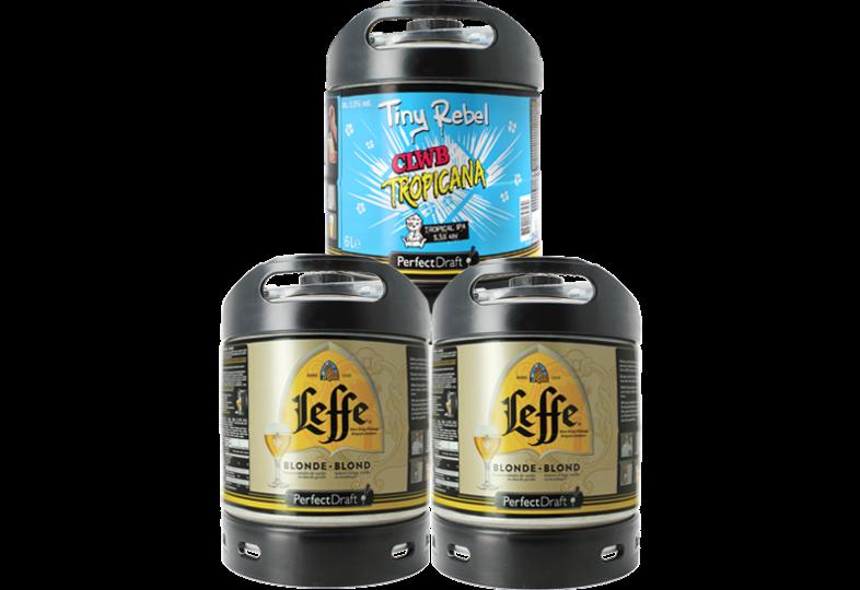 Bier Tapvatjes - Assortiment 3 fûts 6L : 2 Leffe Blonde - 1 Tiny Rebel Clwb Tropicana