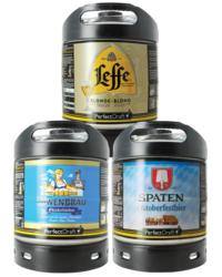 Fûts de bière - Assortiment 3 fûts 6L : Leffe Blonde - Löwenbräu Oktoberfestbier - Spaten Oktoberfestbier