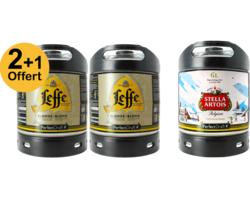 Assortiments 3 fûts - Pack 2 Fûts 6L De Leffe Blonde + 1 Stella Offert