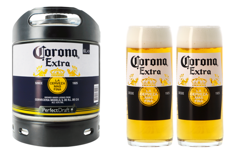Fûts de bière - Pack 1 fût 6L de Corona + 2 verres Corona offerts