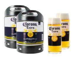 Fûts de bière - Pack 2 fûts 6L de Corona + 2 verres Corona offerts