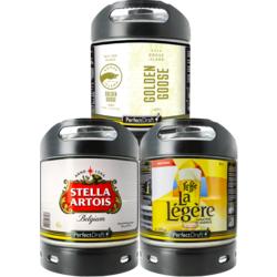 Fûts de bière - Assortiment 3 fûts 6L Lager : Stella Artois - Goose Island Golden Goose - Leffe La Légère