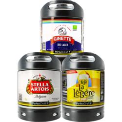Fûts de bière - Assortiment 3 fûts 6L Lager : Stella Artois - Ginette Lager Bio - Leffe La Légère