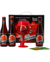 Gift box with beer and glass - Giftpack Rince Cochon Rouge (3 Flessen 1 Glas)