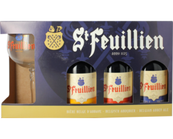 Gift box with beer and glass - St Feuillien Gift Pack (3 beers + 1 glass)