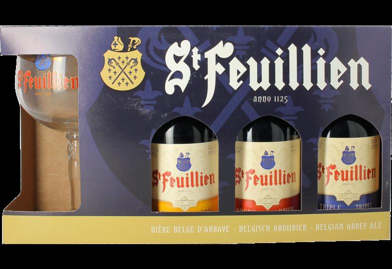 Pack regalo con cerveza y vasos - Coffret St Feuillien (3 bières + 1 verre)