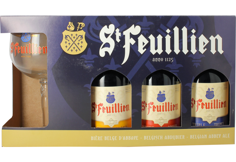 Gift box with beer and glass - Giftpack St Feuillien (3 Flessen 1 Glas)