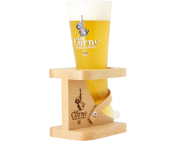 Beer glasses - La Corne Du Bois Des Pendus glass with wooden base