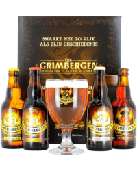 Gift box with beer and glass - Giftpack Grimbergen Boek Giftpack (4 flessen 1 Glas)