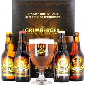 Confezione regalo Grimbergen Libro (4 Birre 1 Bicchiere)