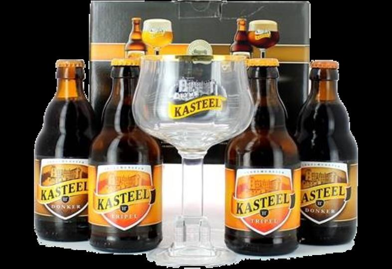 Pack regalo con cerveza y vasos - Coffret Kasteel bier