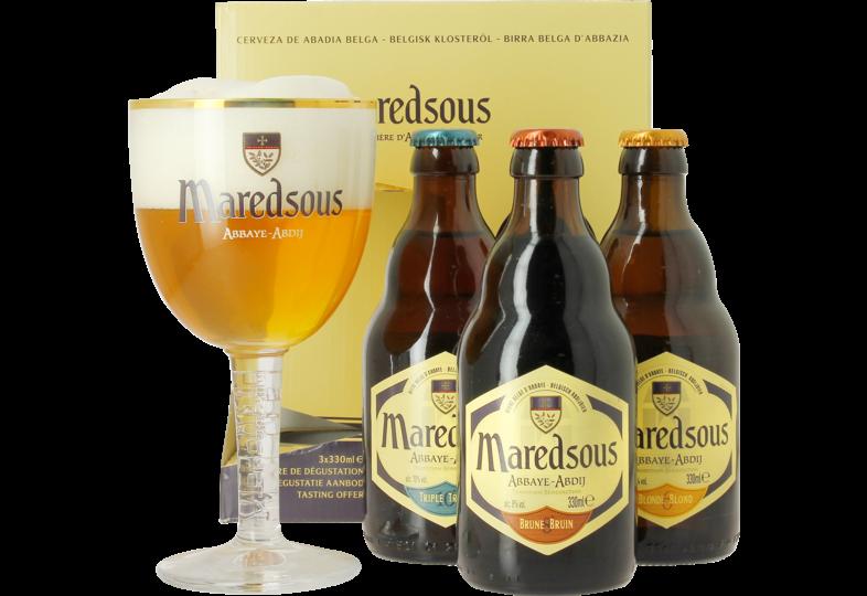 Accessori e regali - Maredsous Confezione Regalo - 3 birre + 1 bicchiere