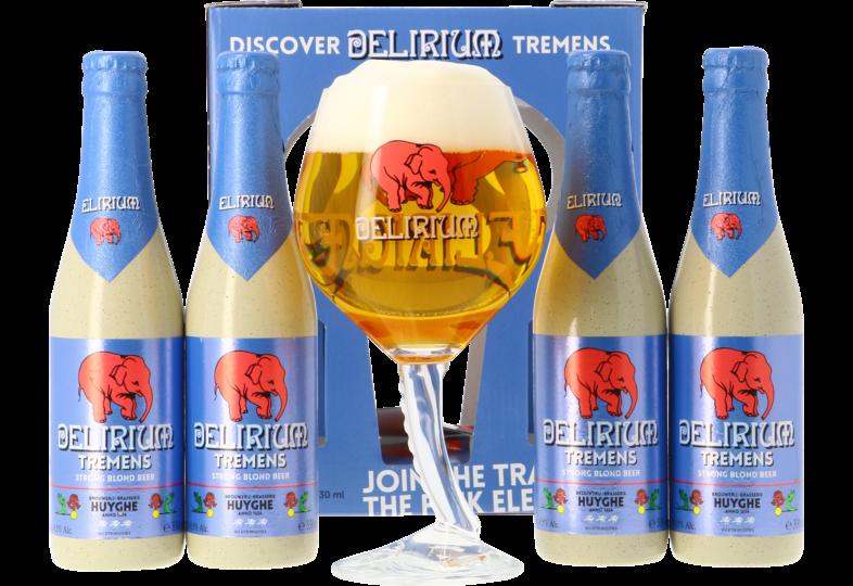 Accessoires et cadeaux - Coffret Delirium Tremens (4 bières 1 verre)