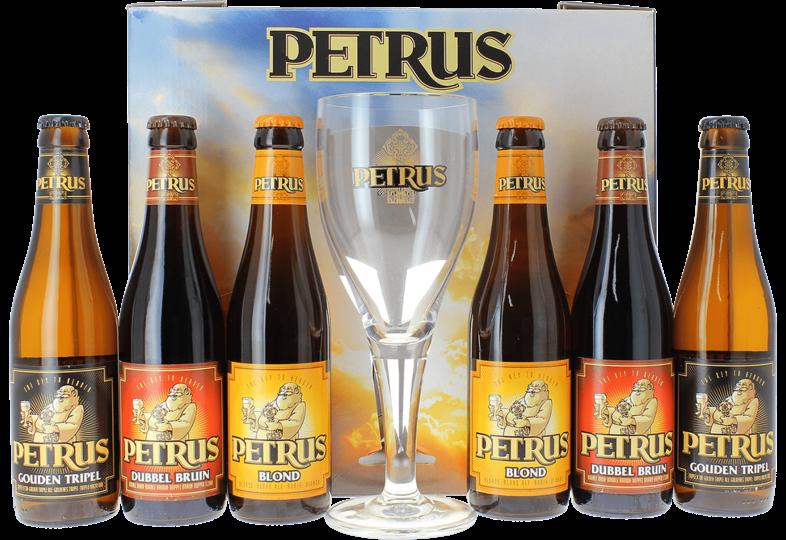 Coffrets cadeaux verre et bière - Coffret Petrus (6 bières + 1 verre)