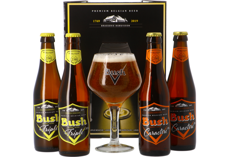 Gift box with beer and glass - Bush Giftpack - 4x33cl + 1 glas