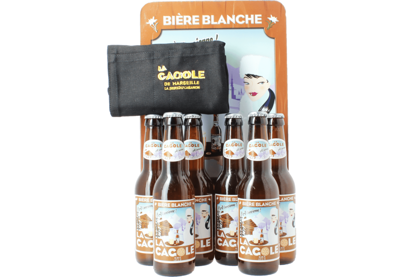 Gift box with beer and glass - Cagole Blanche Gift Pack (6 bottles 33cl +1 apron)