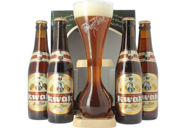 Gåvoboxar med öl och glas - Bosteels Kwak Gift Pack Presentpaket - 4 flaskor och coachman glass