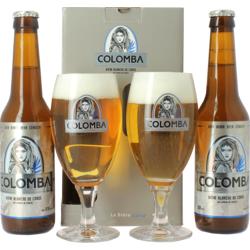 Pack regalo con cerveza y vasos - Coffret Colomba