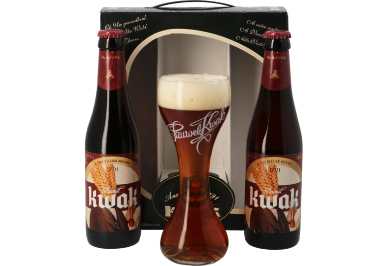 Gift box with beer and glass - Kwak Gift Pack (2 beers + 1 glass)