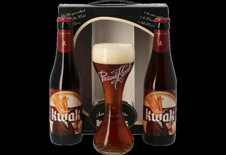 Coffrets cadeaux verre et bière - Coffret Kwak - 2 bières et 1 verre