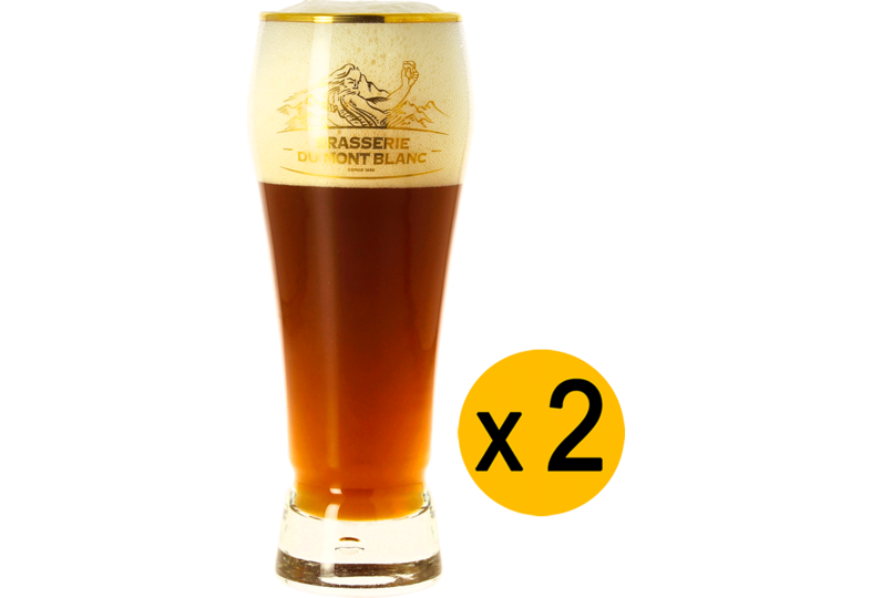 Beer glasses - 2 Mont Blanc gold rim glasses - 25 cl