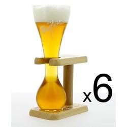 Lot de verre à bière - 6 verres Kwak avec pied en bois