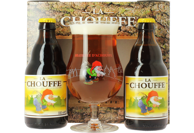 Gift box with beer and glass - Coffret Chouffe Blonde (2 bières, 1 verre)